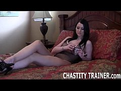 Locked in a chastity device by Mistress Cydel