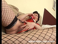 Sexy Granny In Fishnet Stockings Couch Fucked - Full