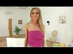 PrimeCups Big boobed blonde takes a cumshot on ...