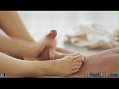 Ballerinas feet jizzed on
