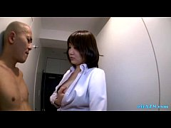 Busty Office Lady Giving Handjob For Naked Skin...