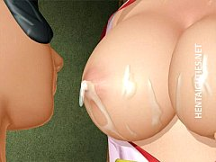 Chesty 3D hentai girl gets double fucked