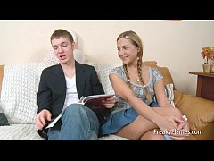 Teen blondy seduces her step brother later she ...
