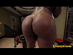 Shemale ebony with bigbooty tugging her cock
