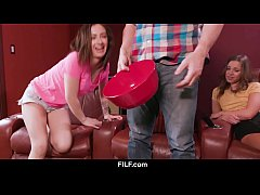 FILF - Liza and Lily share stepdad's dick during a boring movie.