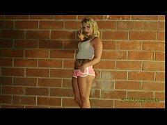 Blonde sucking huge dick on her knees