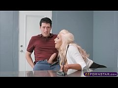 Busty blonde assistant in high heels gets fucke...