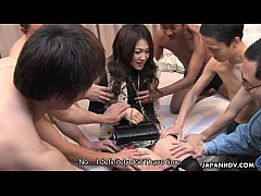 Slutty ass Asian babe has a gang banging session
