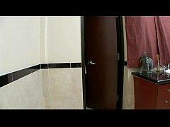 Ebony slut nailed in bathroom