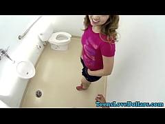 Teen fucked in public wc