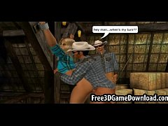 Horny 3d cartoon cowgirl takes on two studs at ...