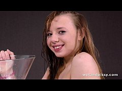 Cute young teen girl loves peeing
