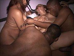 Young slut MILFs at crowded interracial orgy bicker suck fuck swallow cum