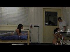 Juicy brunettes Melanie and Abelia nursing in t...
