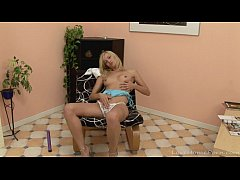 Lusty blonde enjoys masturbating with her dildo
