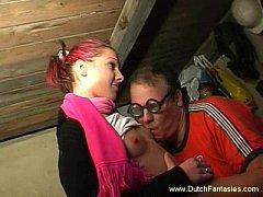 Skinny Brunette Dutch Teen Abused