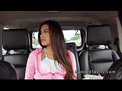 Petite Latina teen fucking stranger in his car