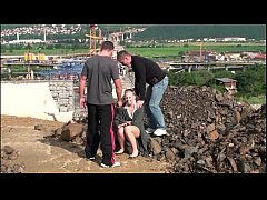 Young teen girl PUBLIC gangbang threesome at a ...