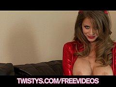 Big-tit brunette model Shows off her Halloween ...