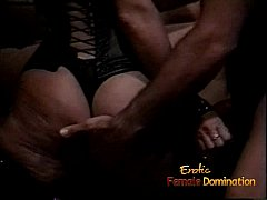 Horny stallion ties up a hot babe and pleasures...