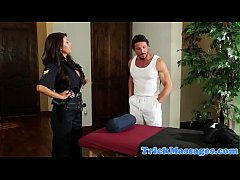 Bigtitted cop massaged and seduced into sex
