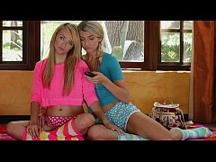 Stunning young blonde lesbians make love