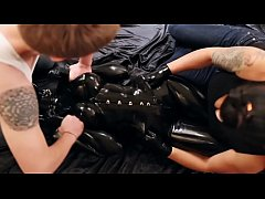 Restrained in rubber and tickled until she screams