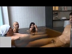 cute japanese girl vs three oyazi at bathroom