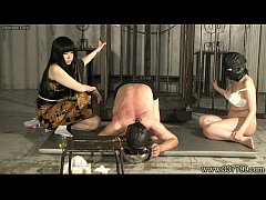 Two Japanese femdom Kyouka with black hair trai...