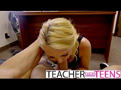 Teacher caught and has first time threesome wit...