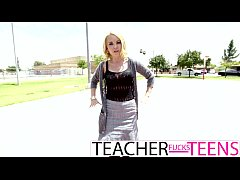 Teacher caught and has first time threesome with teens