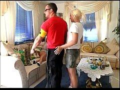 Horny couple fucking a slave girl