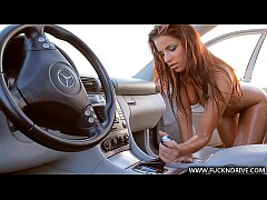 Extremely sexy babe rides her car gear