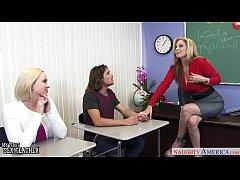 Lusty sex teacher Julia Ann share with coed Mil...