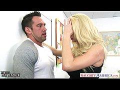 Busty blonde sex teachers Phoenix Marie and Summer Brielle share cock
