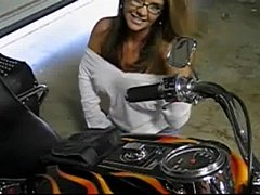 big tit milf sucks hubby's cock on motorcycle