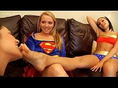 Catwoman Worships Superwomans And Wonderwomans Feet