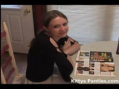 Cute teen Kitty reading a magazine and flashing...
