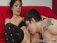 Amateur Milf homemade action with cumshot on belly