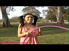 teen hoola hoop outdoor gets fucked and face sp...
