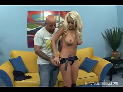 Amazing blonde with sexy boots banged hard