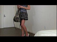 Blonde amateur with mile long legs begs