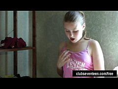Angelic teen girl finger her pussy