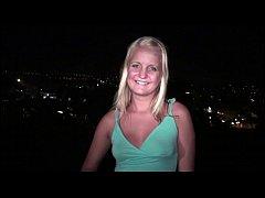 Cute blonde teen girlgoing to a public gang ban...