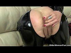 UK milf Christina X finger fucks in PVC and nyl...
