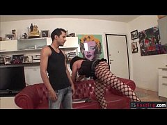 Tranny in lingerie ass fucking with dude until ...