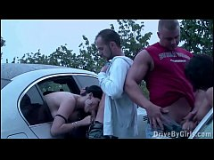 A girl joins a public sex orgy with 2 guys and ...