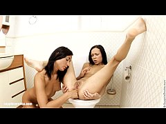 Hot fingering in the bathroom on Sapphic Erotic...