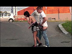 Risky PUBLIC street young petite girl threesome...