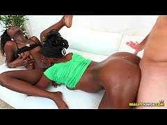 Two petite ebony lesbians get fucked and covered in cum